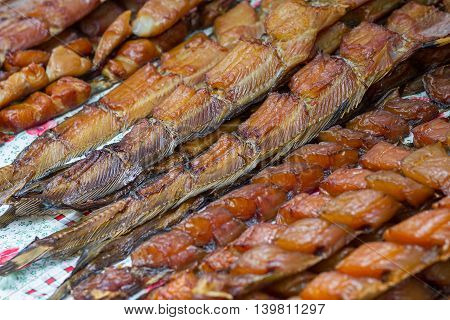 Salted fish on the counter close-up. Food