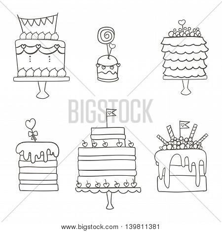 Vector illustration of cake and cupcake. Ideal for wedding invitations and save the date invitations and party.