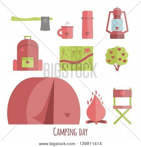 Vector set of icons flat campsite. Cute illustration of a tent an ax a bush a map a lamp a chair a backpack and a thermos cup of tea.