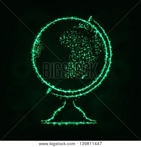 Globe Illustration Icon, Spring Green Color Lights Silhouette on Dark Background. Glowing Lines and Points