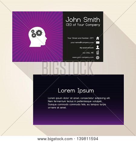 Simple Color Gradient And Stripes Wheel Purple Business Card Design Eps10