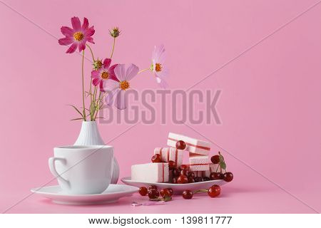 Coffee, Sweets And Flowers In Holiday