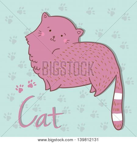 Vector illustration of cat. Ideal for party invitations.