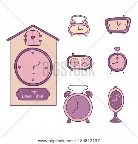 Cute illustration of a set of clock and alarm. Object for decoration and design.