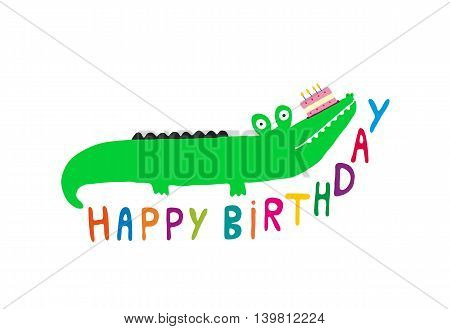 Happy Birthday Crocodile card with cake, vector illustration