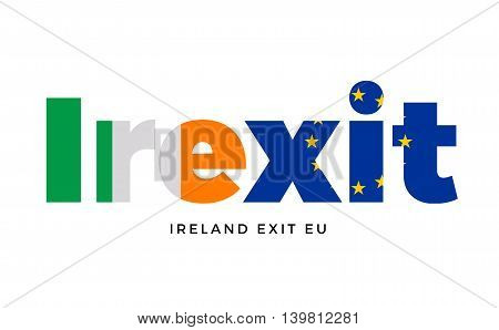 IREXIT - Ireland exit from European Union on Referendum. Vector Isolated