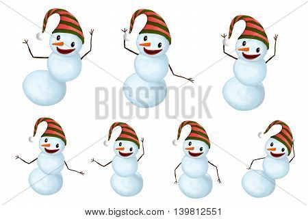 Isolated Funny Smiling Snow-mans set with Hat and Carrot Nose
