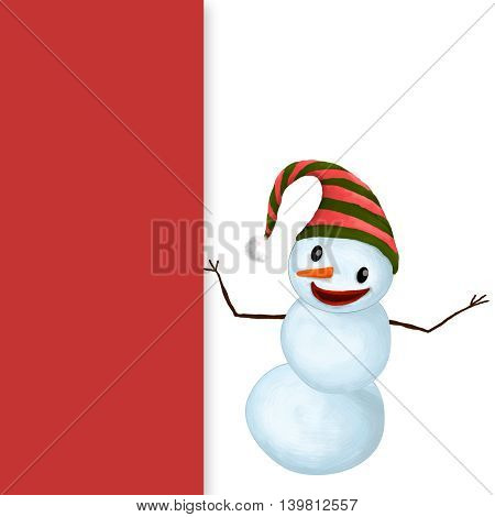 Isolated Funny Smiling Snowman with Hat and Carrot Nose showing a copy space