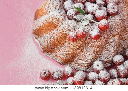 Cherry Cake Decorated With Powdered Sugar And Fresh Berries