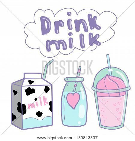 Cute set with milk tubule for children. Smoothies a cocktail a drink in the pot with straw a carton of milk.