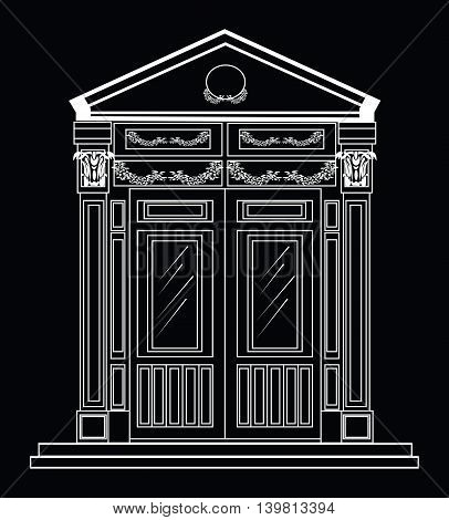 Entrance in classic style. Vector architectural facade. Wire frame blueprint drawing of classic building. Vector architectural template background