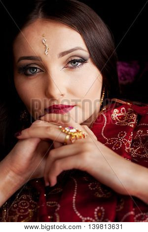 Beautiful Indian Woman With Blue Eyes
