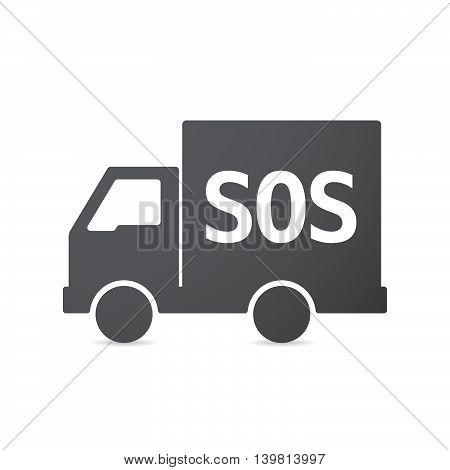 Isolated Truck Icon With    The Text Sos