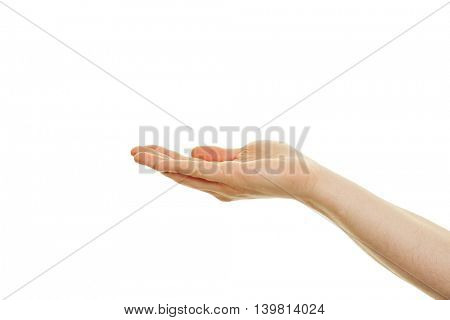 Hand of man with open palm isolated on white background