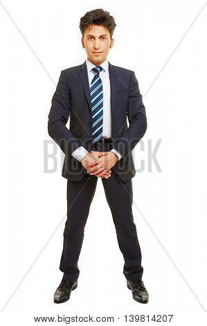 Business man standing frontal in a suit isolated on a white background