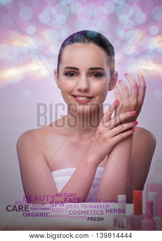 Young woman in beauty concept with abstract elements