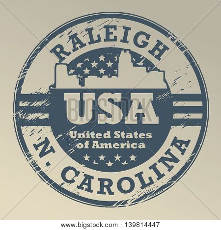 Grunge rubber stamp with name of North Carolina, Raleigh, vector illustration