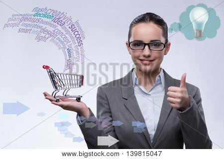 Woman with shopping cart in online trading concept