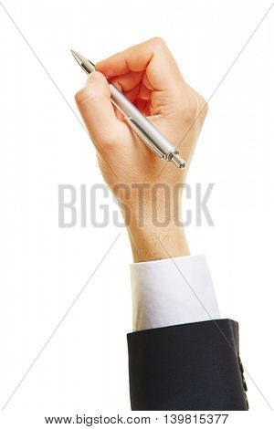 Hand of business man writing with a ballpoint pen