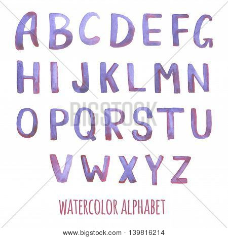 Hand drawn watercolor brushed alphabet pink sketch font letters. Handwritten brush strokes isolated on white background