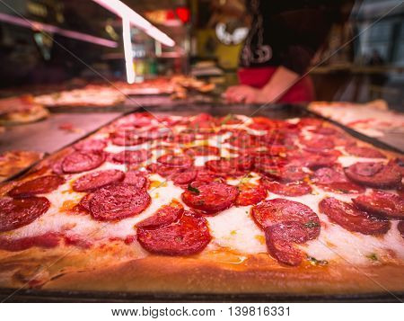 restaurant pizzeria sausage pizza in florence italy