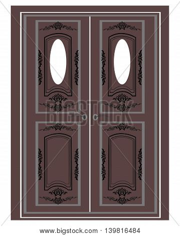 Entrance in classic style. Vector architectural facade. drawing of classic building. Vector architectural template background