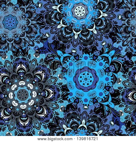 Deep blue colored seamless pattern with eastern floral orament. Floral oriental design in aztec, turkish, pakistan, indian, chinese, japanese style. Wrapping paper or front-side, vector art.