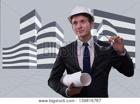 Young architect with drawings in composite concept