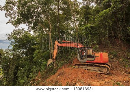 KOTA KINABALU, MALAYSIA - CIRCA JUNE 2016: Deforestation. Borneo rainforest destroyed for agriculture and palm oil industry.