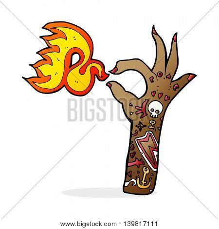 cartoon tattoo arm fire symbol
