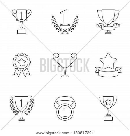 Sport trophy and awards icons. Set of 9 lined vector icons
