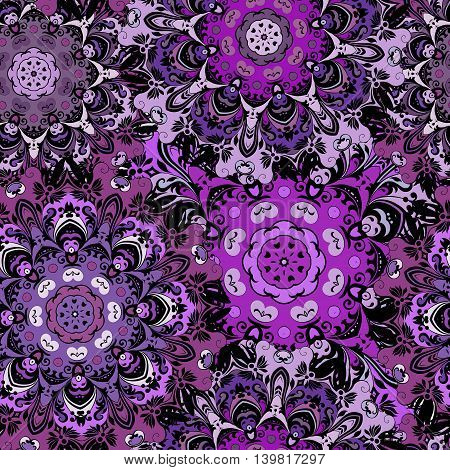 Violet seamless pattern with eastern mandalas orament. Floral design in aztec, turkish, pakistan, indian, chinese, japanese style. Napkin or wrapping, vector art.