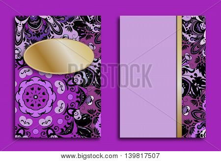 Card or invitation in oriental style with violet mandalas ornament. Islam, Arabic, Indian, ottoman motifs in lilac and gold colors. Vector art.