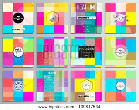 Set of 12 creative cards, square brochure template design. Abstract colorful business background, modern stylish vector texture.