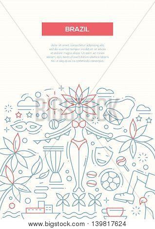 Brazil - vector line design brochure poster, flyer presentation template, A4 size layout. Carnival, football, Rio, Brazilian girl