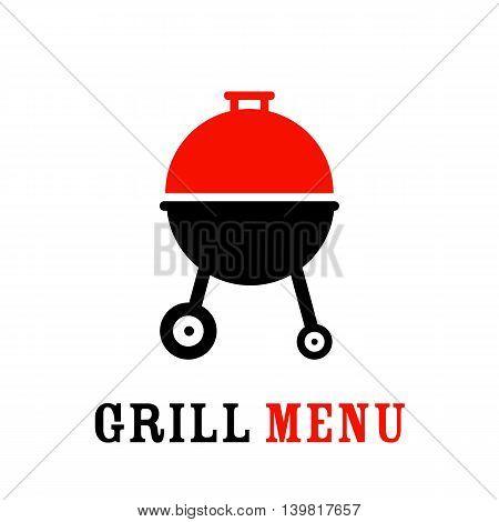 The grill icon. Barbeque symbol. Barbecue grill menu. Colorful vector icon.