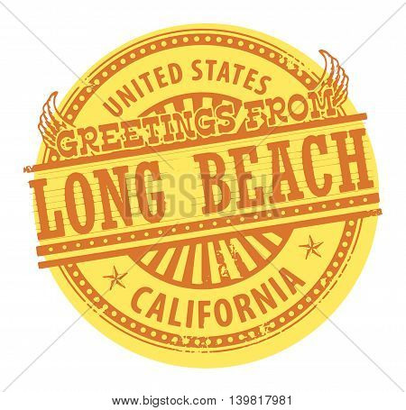 Grunge color stamp with text Greetings from Long Beach, vector illustration