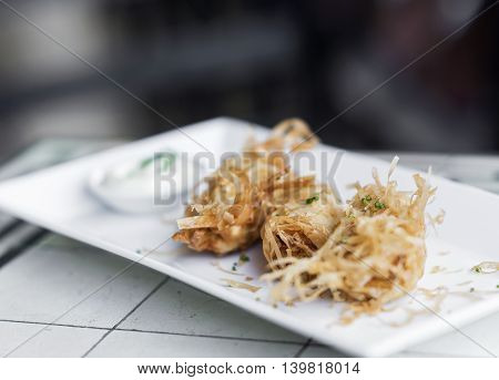 gourmet prawn tempura modern fusion snack starter with wasabi mayo