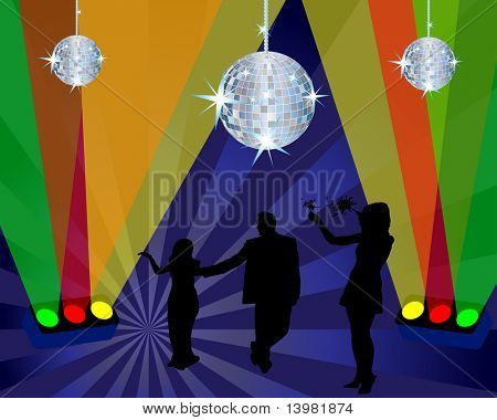 Abstract night club dancing scene with light and disco spheres