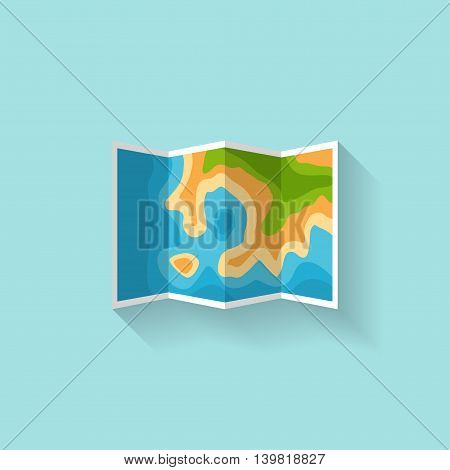 Map in a flat style. Navigation. Travel, hiking and camping. Cartographz. Route planning. Vector illustration