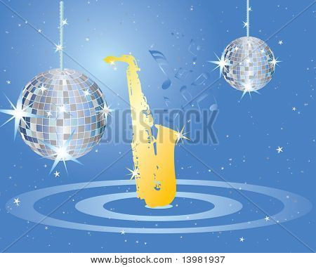 Abstract vector musical background with disco spere