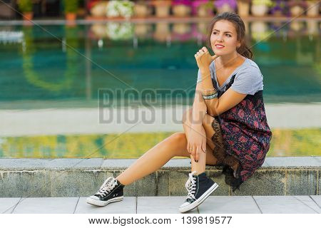 Young Woman In The Summer City