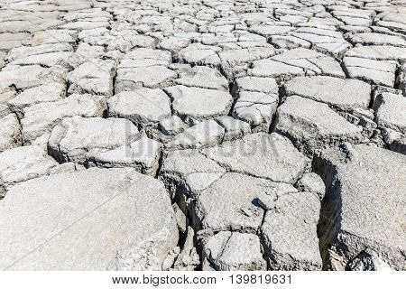 Dry cracked soil background texture, close up