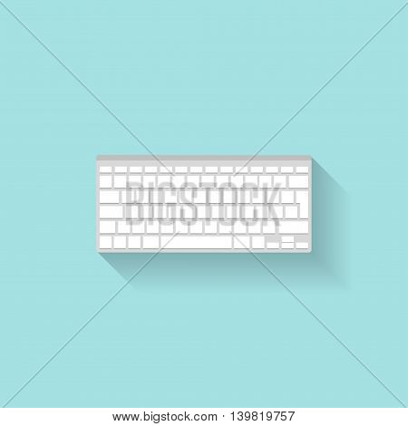Computer keyboard in a flat style. Typing. Letters and numbers. Vector illustration