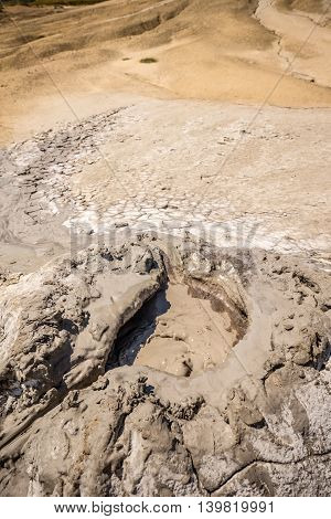 Close up of bubbling mud hole, outdoor shot