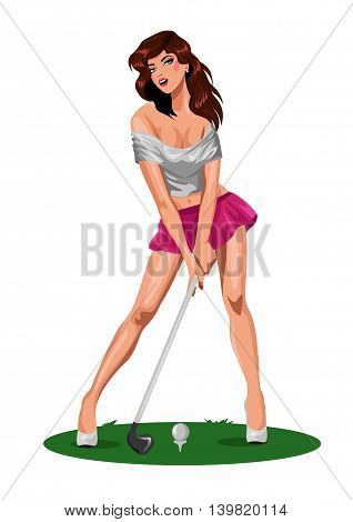 Sport beautiful  woman golfer ready to hit the ball