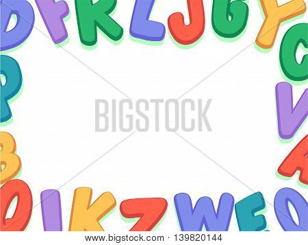 Vector Illustration of Alphabet Upper Case Set Border