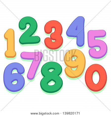 Stock Vector Illustration of Colorful Number Set