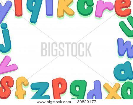 Vector Illustration of Alphabet Lower Case Set Border