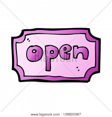 cartoon open sign